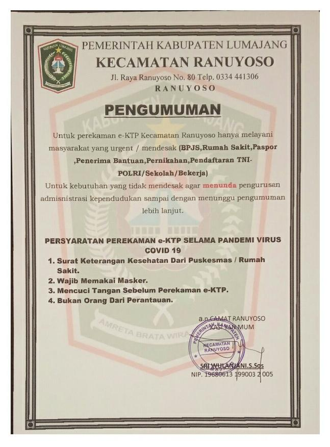 PENGUMUMAN PENTING TERKAIT PELAYANAN PEREKAMAN e-KTP SELAMA PANDEMI COVID-19